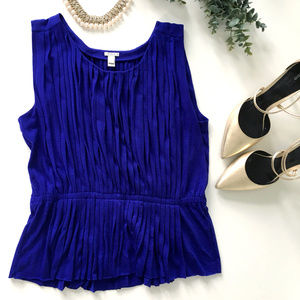 J. Crew Blue Pleated Peplum Tank
